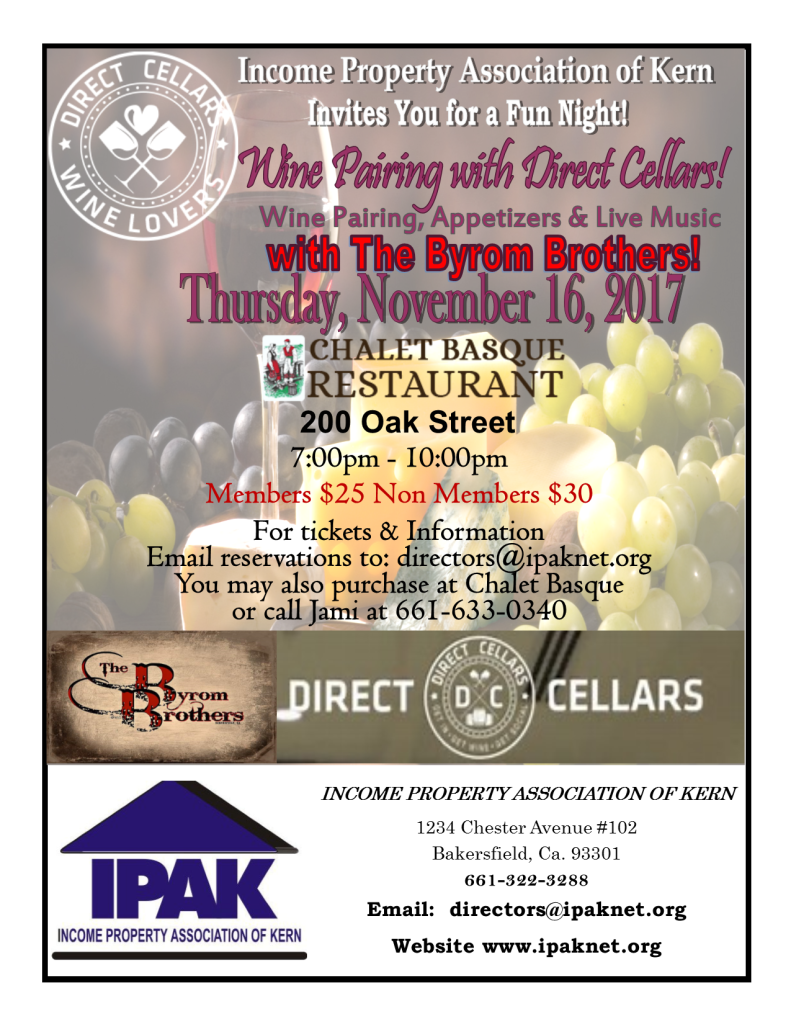 Join IPAK  for a night of good wine, appetizers &  excellent music by the Byrum Brothers!
